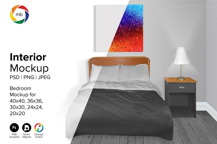 Bedroom Mockup 24x24, 30x30, 36x36, 40x40 - PSD, PNG, JPG