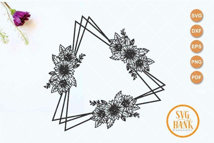 Triangle sunflower frame SVG, Wedding invitation frame example image 1