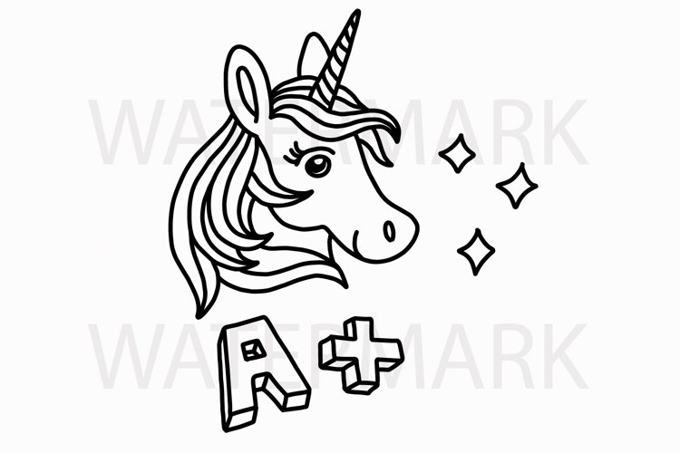 Unicorn A+ Type A - SVG/JPG/PNG Hand Drawing example image 1