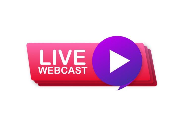 Live Webcast Button, icon, emblem, label Vector stock illust