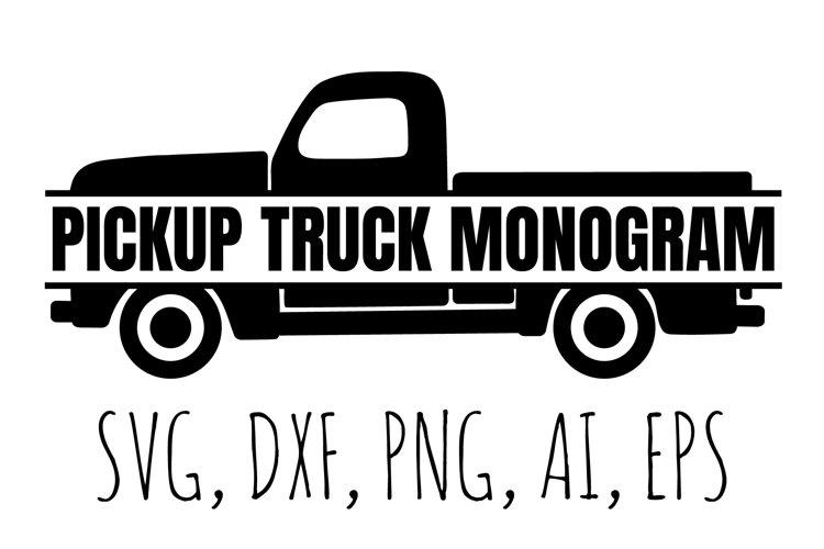 Pickup Truck svg cut file, Split Monogram svg