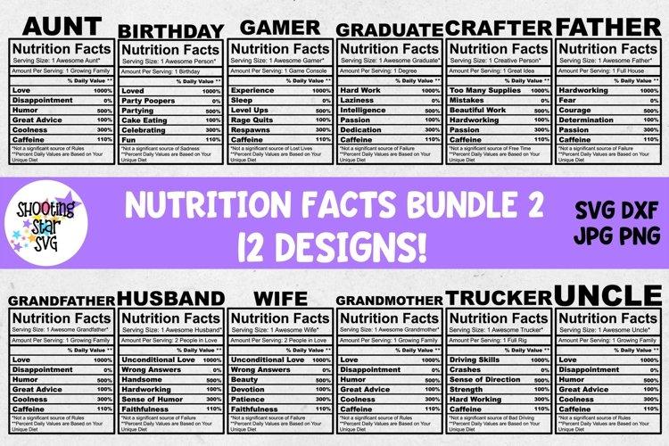 Nutrition Facts SVG Bundle Two