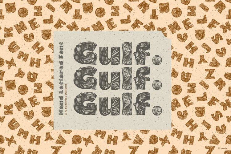 Gulf. Hand Lettered Font and 6 seamless patterns