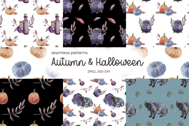 Halloween and Autumn watercolor seamless patterns example image 1