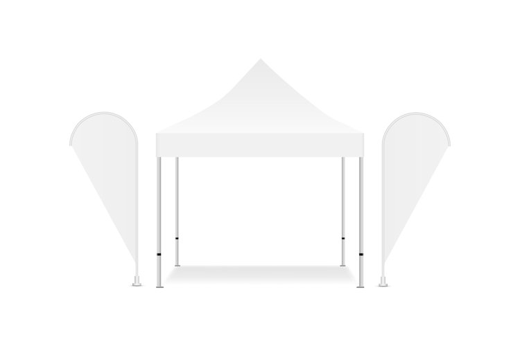 Blank square canopy tent with two promotional flags example image 1