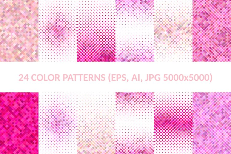 24 Pink Square Patterns AI, EPS, JPG 5000x5000 example image 1