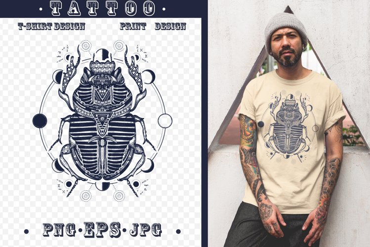 Sacred scarab tattoo example image 1