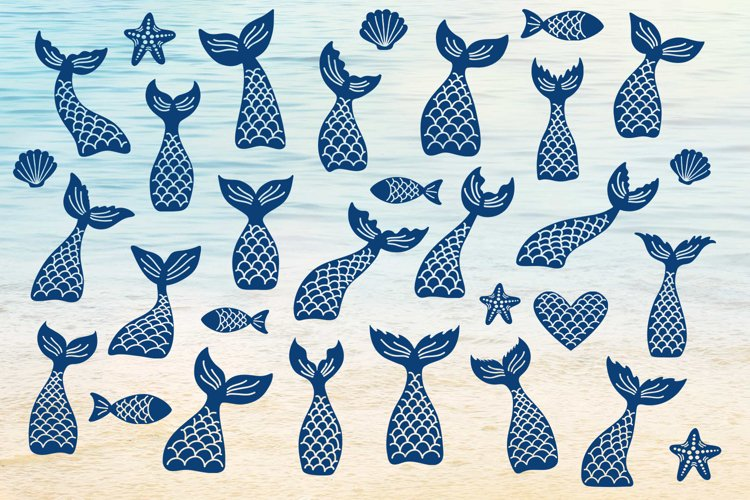 Mermaid tails, fishes, starfishes, shells silhouettes SVG DXF PNG EPS Cutting Files. Mermaid tail SVG, Mermaid Bundle SVG. example image 1