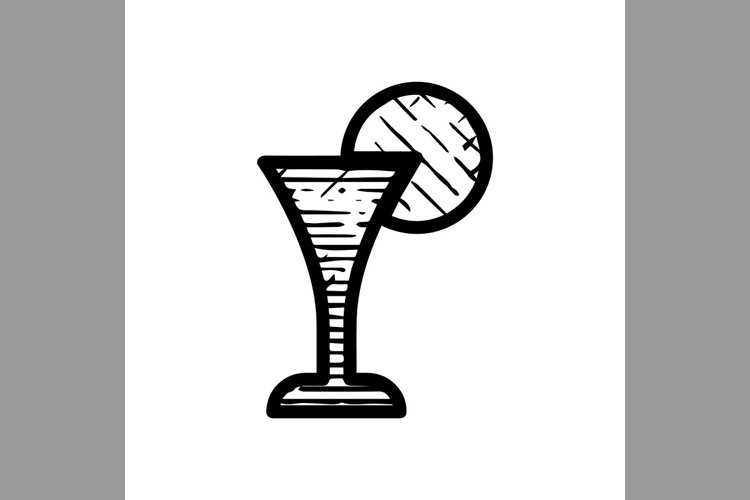 hand drawn wine lime symbol line icon, Vector Illustration example image 1