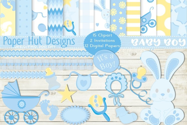 Baby Boy Clipart and Digital Papers Set example image 1