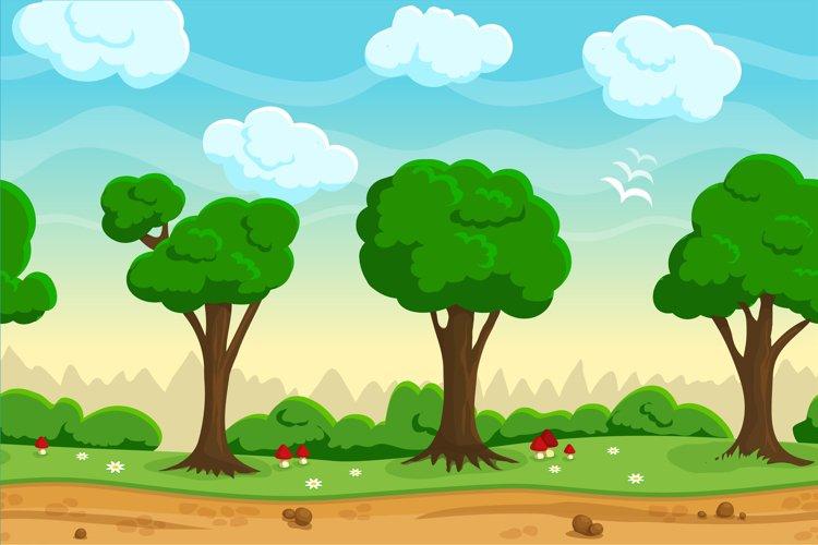 Seamless cartoon game landscape example image 1