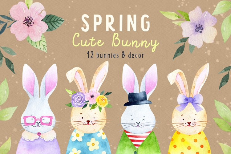 Bunny watercolor baby shower clipart