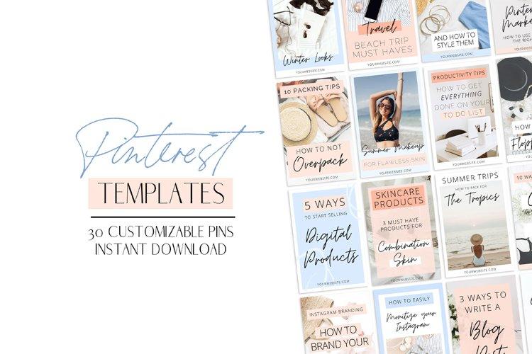 Blue & Peach Pinterest Templates example image 1
