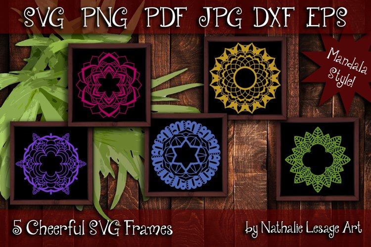 SVG Frames 5 Cheerful Mandala Designs Cut File Digi Stamp
