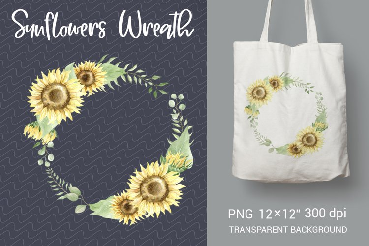 Watercolor wreath sunflowers and greens for sublimation example image 1