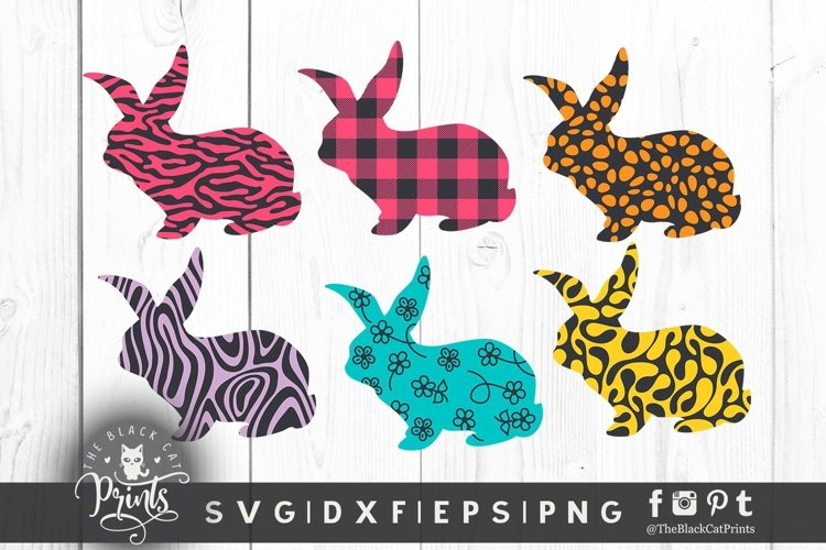 Easter Bunny SVG Easter Clipart SVG Buffalo Plaid Bunny SVG example image 1