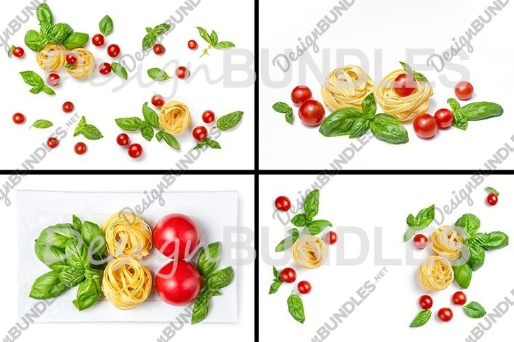 Ingredients for the pasta. Tomatoes, basil, pasta. example image 1
