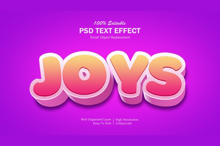 3D Joys Text Effect example image 1