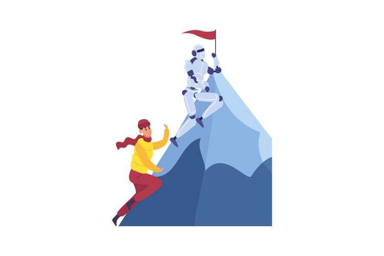 Man and robot climbing mountain, achieving goal and success. example image 1