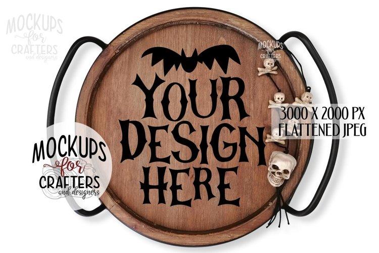Round Wood Tray, Halloween, White background, Mock-Up example image 1