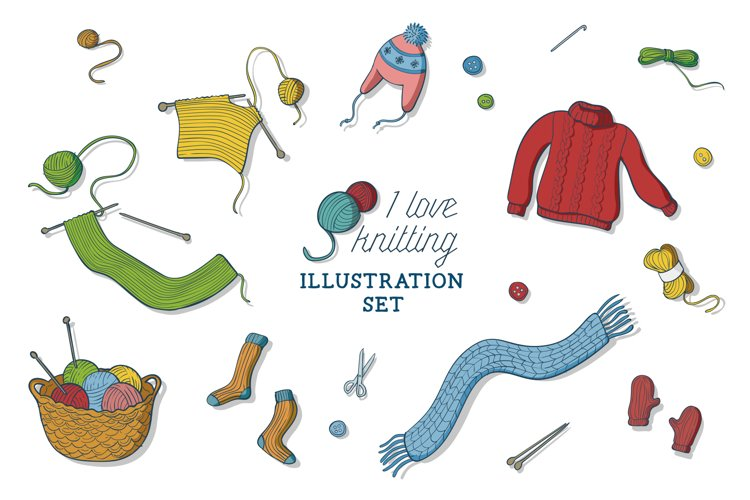 I love knitting illustration set