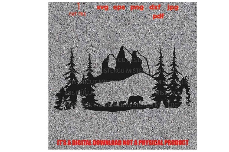 mama bear with cubs svg, mountain svg, adventure decal SVG, example image 1