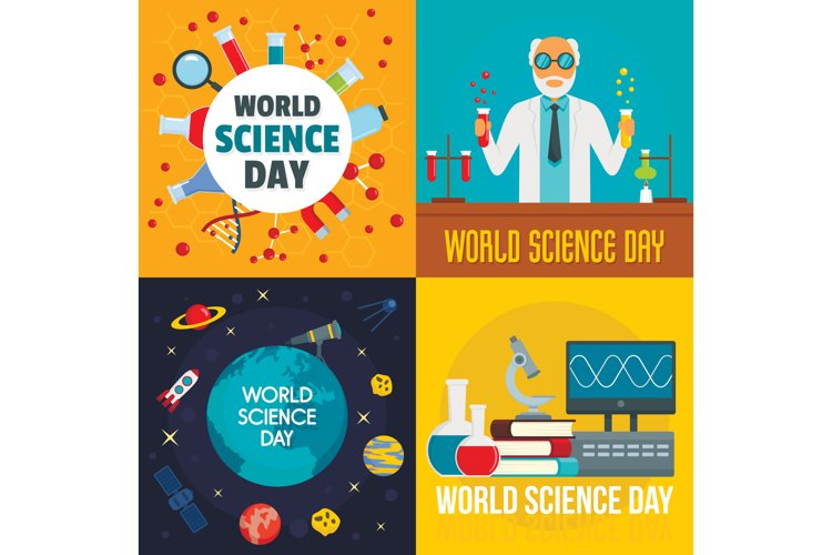 Science day banner set, flat style example image 1