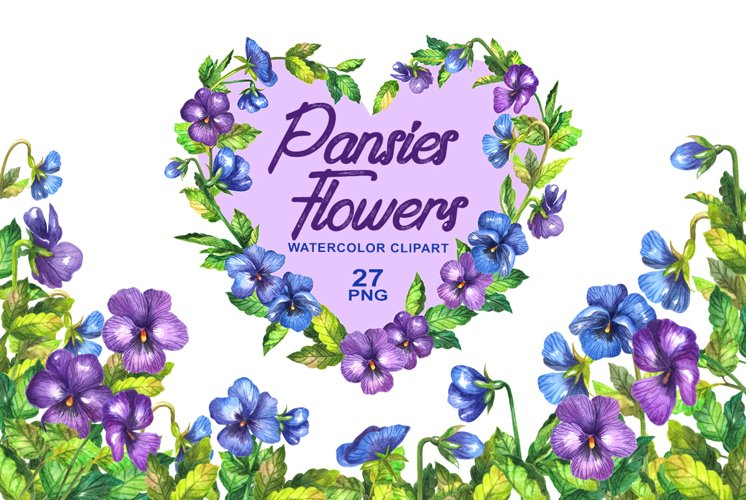 Watercolor pansy flower example image 1