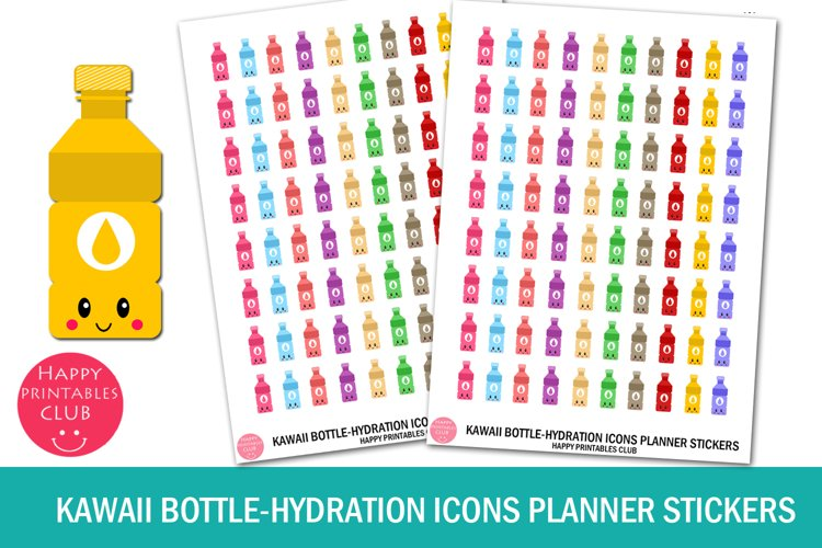 Kawaii Bottle-Hydration Icons Planner Stickers- Hydration example image 1