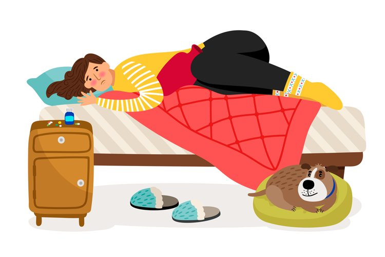 Sick woman in bed. Menstrual pain, woman health vector conce