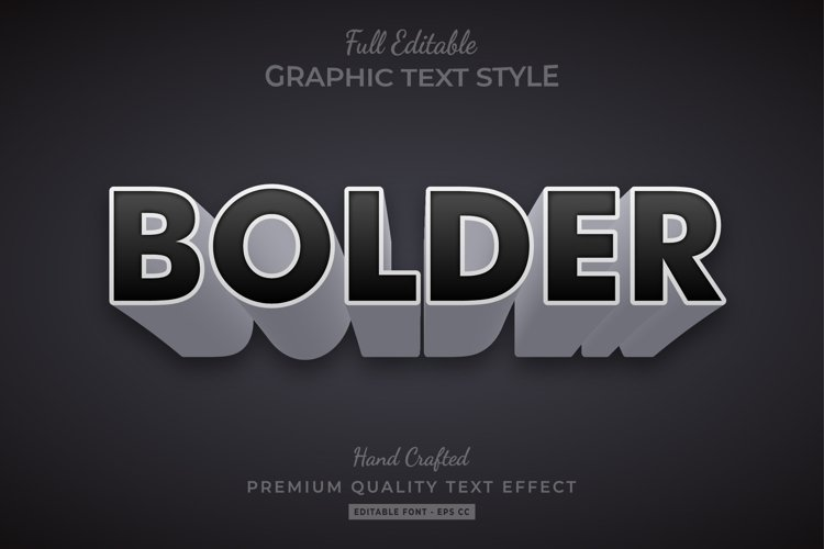 Bolder 3d Text Style Effect Premium Vector example image 1