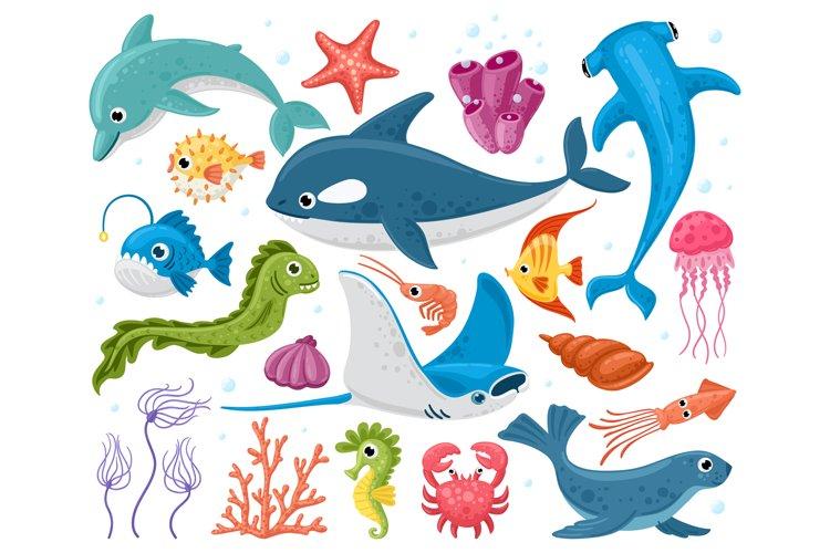 Ocean animals. Cartoon marine wildlife creatures, orca, stin example image 1
