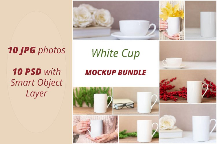 Mockup Bundle - White cup photos and PSD