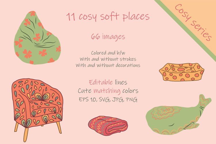 Set, collection of hand drawn cosy soft places.