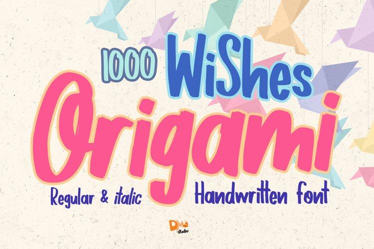 1000 Wishes Origami - Handwritting Font example image 1