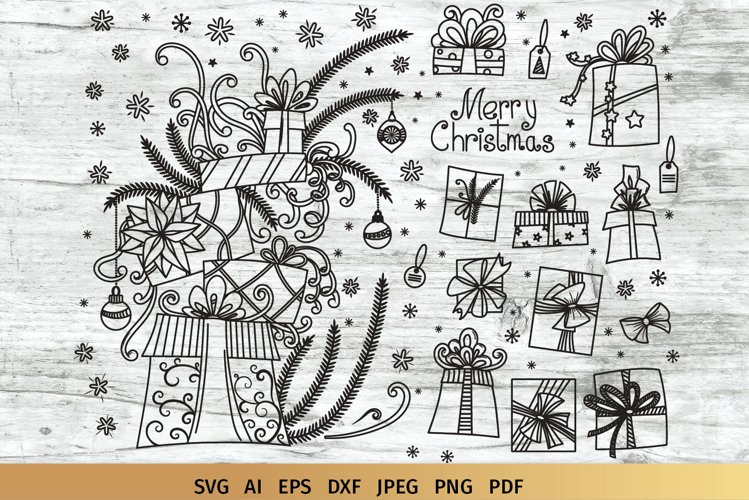 Christmas SVG Gifts Doodles example image 1