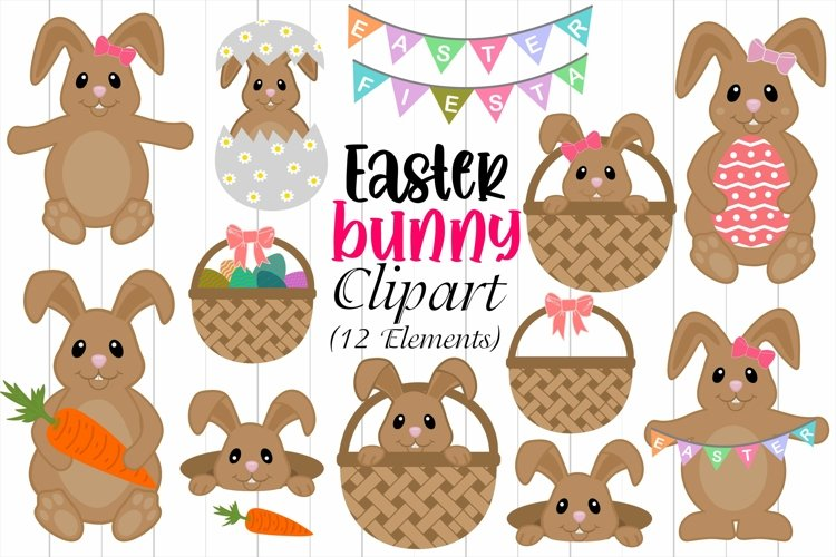 Easter Bunny Clipart, Easter Eggs & Basket Illustrations example image 1