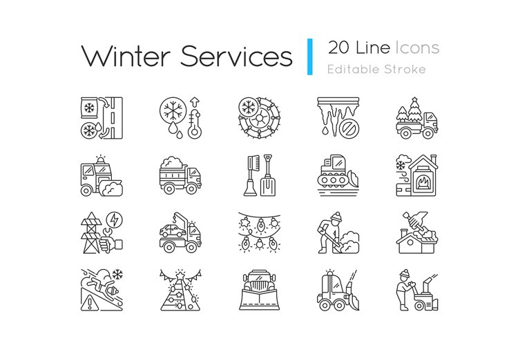 Snow removing services linear icons set
