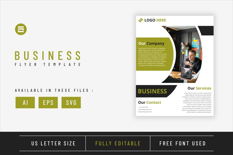 Business flyer template with green lime geometry shapes example image 1