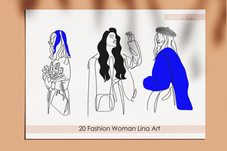 Fashion Woman Line Art Vector