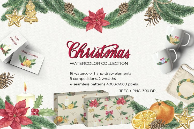 Christmas watercolor collection example image 1