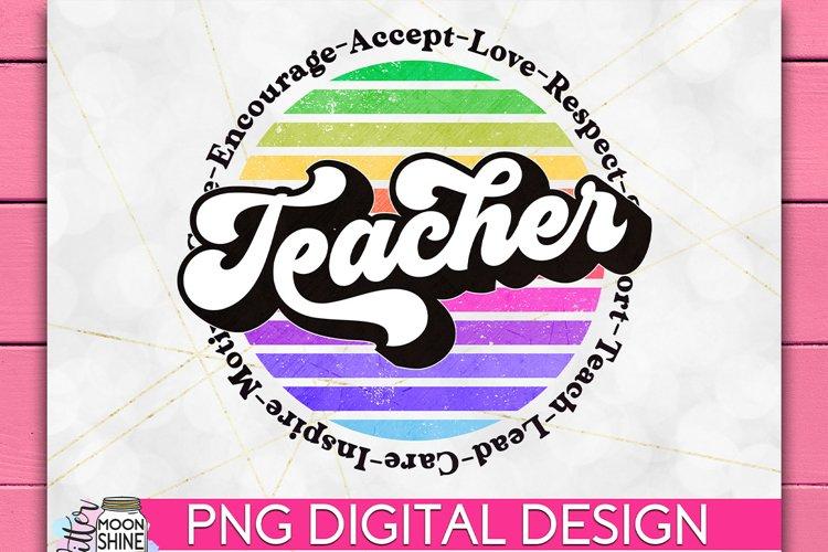 Teacher Retro Circle PNG Sublimation