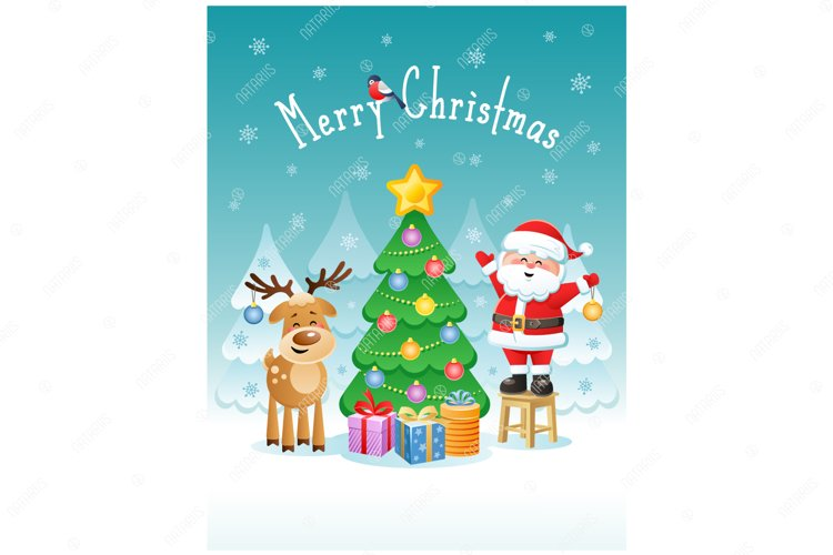 Merry Christmas. Greeting card with funny Santa Claus. example image 1