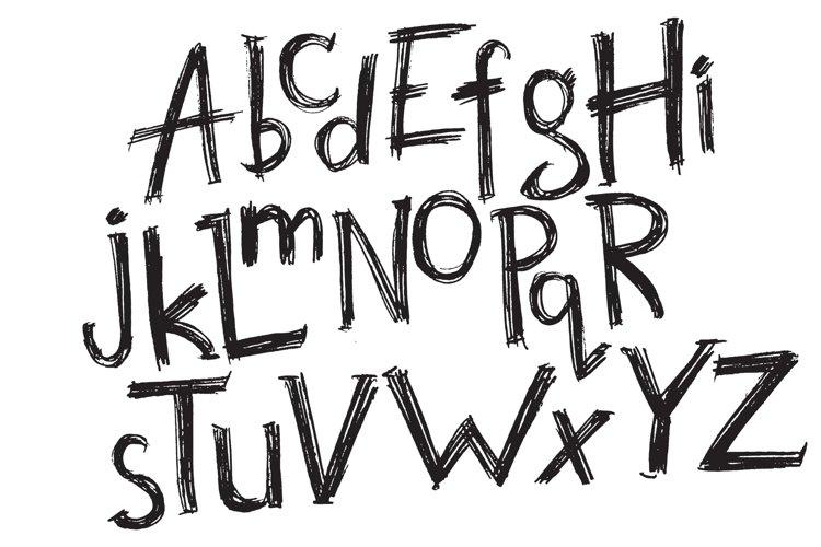 Vector hand drawn latin alphabet example 1