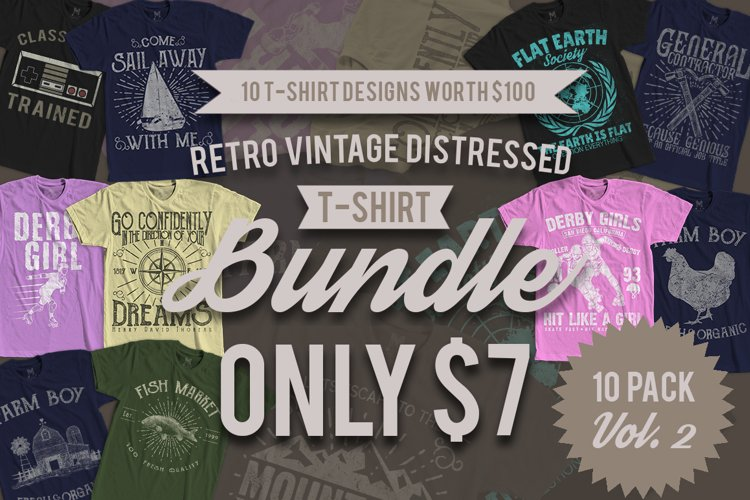 Retro Vintage T-Shirt Designs 10 Pack Vol. 2