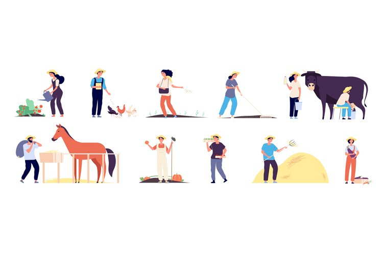Farmer characters. People agricultural workers with farm ani example image 1