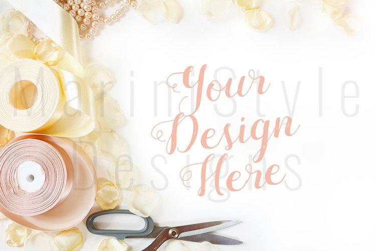 Minimalist Wedding mockup, Feminine desk with petals 442