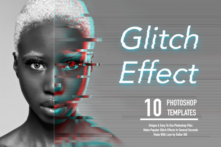Glitch Effect Set for Photoshop. example image 1