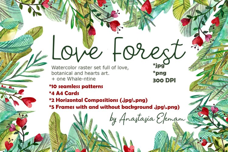 Love forest watercolor set with patterns, cards, wreaths example image 1