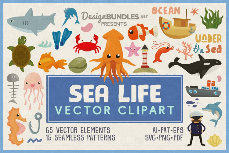 Sea Life Vector Clipart and Seamless Pattern